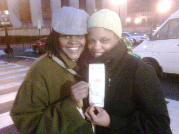 Sinjoyla and Angelisa in line to apply for a marriage license in DC.